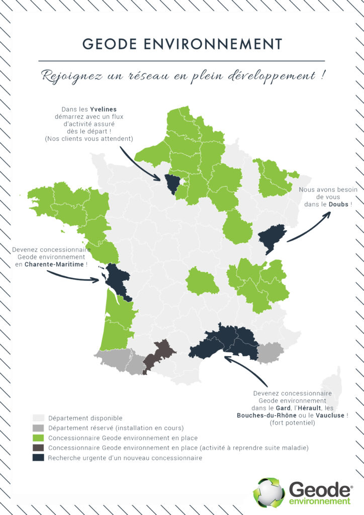 Carte implantations Geode environnement